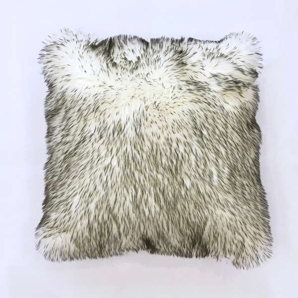 Faux Fur Shag Home Decor Pillow In White with Grey For Indoor