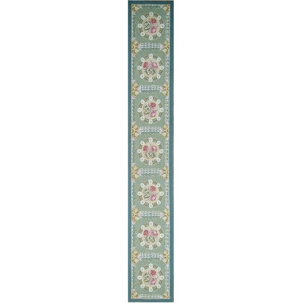 "Pasargad Aubusson Ivory Hand-Woven Wool Runner (2' 2"" X 14' 1"") - 2'2"" x 14' Runner"