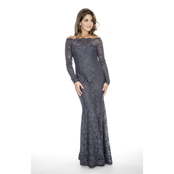 fec6148e41 Shop Decode 1.8 Women's Plus Size Long Lace Evening Dress-Charcoal - Free  Shipping Today - Overstock - 19844110
