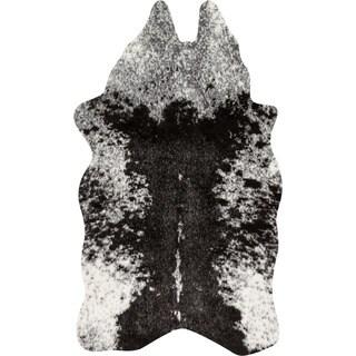 Faux Grey/ Charcoal Brown Cowhide Rug (3' x 5')