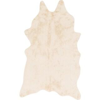 Faux Ivory/ Beige Cowhide Rug (3' x 5')