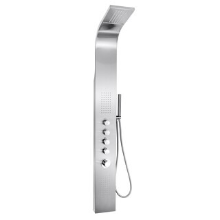"""AKDY SP0047 63"""" Shower Tower Panel Spa Rainfall Style Waterfall Thermostatic Handheld Wand Stainless Steel"""