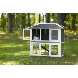 Prevue Pet Products Rabbit Hutch Duplex Gray 4601
