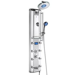 "AKDY SP0048 51"" Aluminum Rain Style System with 3 Colors LED Shower Panel Massage Jets"