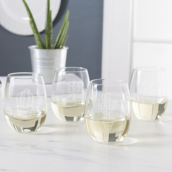 f59a79c8f86 Shop Cactus 21 oz. Stemless Wine Glasses (Set of 4) - Free Shipping ...