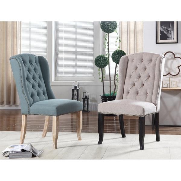 Shop Best Master Furniture Weathered Oak Sleigh: Shop Best Master Furniture Upholstered Wingback Side