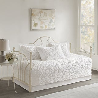 Madison Park Sarah White 5 Piece Cotton Chenille Daybed Set