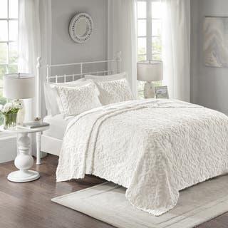 Maison Rouge Julien White Cotton Chenille Oversized Bedspread Set