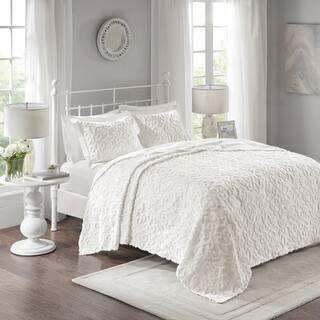 Madison Park Sarah White Cotton Chenille Oversized Bedspread Set