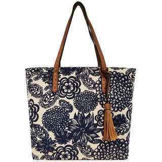 Bueno of California Printed Canvas Tassel Tote Bag
