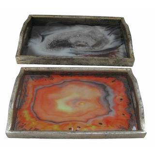 Wood Accent Tray (Set of 2)