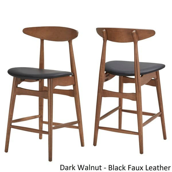 Norwegian Danish Mid Century Dark Walnut Counter Height Stools By Inspire Q Modern Set Of 2 On Sale Overstock 19844967