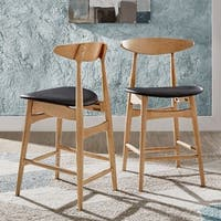 Norwegian Danish Mid-Century Dark Walnut Counter Height Stools by iNSPIRE Q Modern (Set of 2)