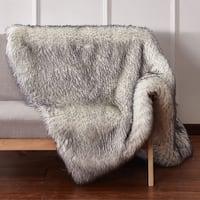 Handmade Mueller Luxury Tip Dye Fur Throw White with Grey