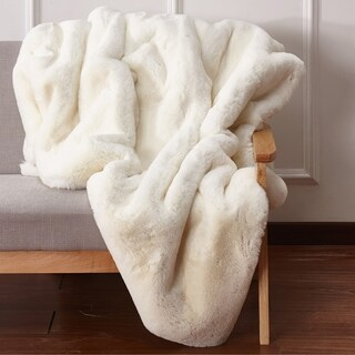 Handmade Unique Faux Fur Throw Blanket In Off-White Color