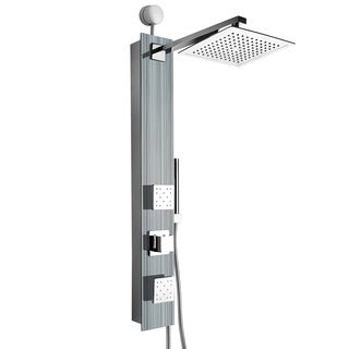"""AKDY 35"""" Easy Connect Tempered Glass Shower Tower Panel System Spa Rainfall Shower Head in Multistripe"""