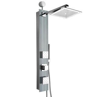 "AKDY SP0060 35"" Easy Connect Tempered Glass Shower Tower Panel System Spa Rainfall Shower Head in Multistripe"