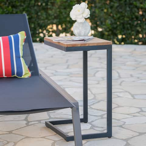 Kora Outdoor Antique Firwood C-shaped Accent Table by Christopher Knight Home