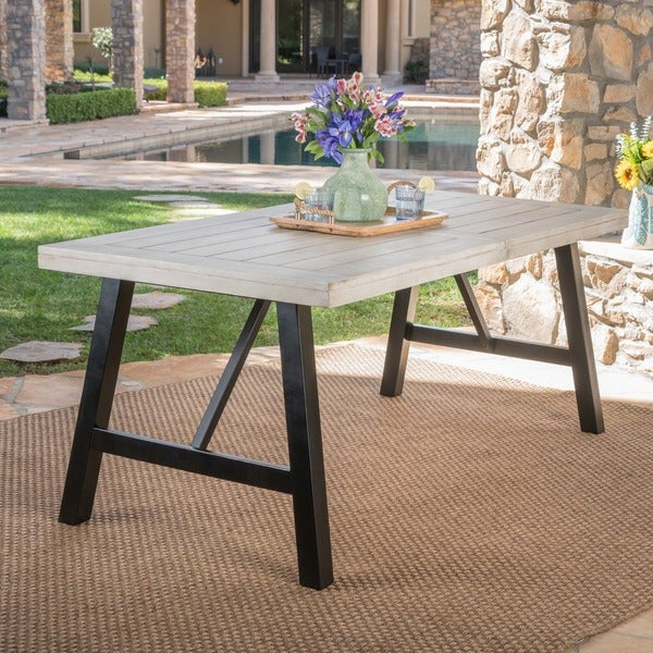 Borocay Outdoor Rectangle Acacia Wood Dining Table by Christopher Knight Home. Opens flyout.