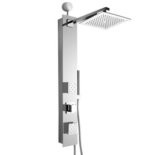 "AKDY SP0061 35"" Easy Connect Tempered Glass Shower Tower Panel System Spa Rainfall Shower Head in Mirror Chrome"