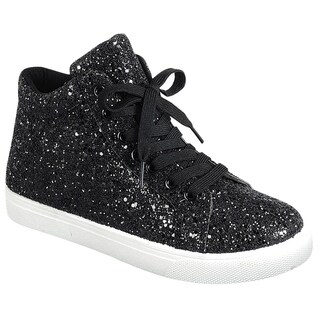 Forever FP65 Glitter Sparkling Lace Up Ankle High Fashion Sneakers
