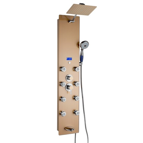 """AKDY SP0063 52"""" Tempered Glass Wall Mount Type Multi-Function Rainfall Style Massage Jets Handheld Wand Tub Spout Gold"""