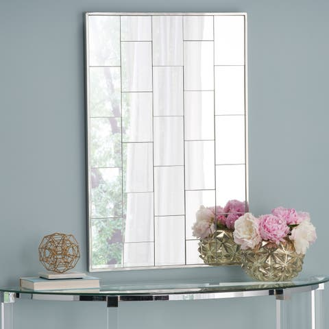 Serafina Glam Rectangle Patterned Wall Mirror by Christopher Knight Home - Clear