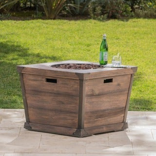 Delaney Outdoor 32-inch Propane Square Fire Pit with Lava Rocks by Christopher Knight Home