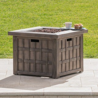 Clarke Outdoor 32-inch Propane Square Fire Pit with Lava Rocks by Christopher Knight Home