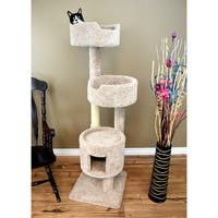 New Cat Condos Beige/Brown Wood/Carpet/Sisal 67-inch Solid Wood Cat Penthouse and Cat Tree