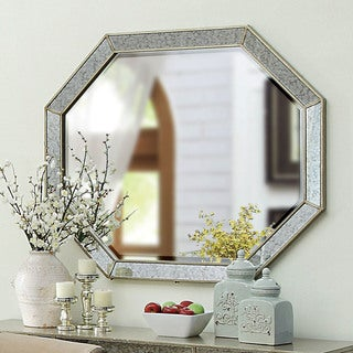 Furniture of America Alera Contemporary Antique Gold Geometric Beveled Mirror