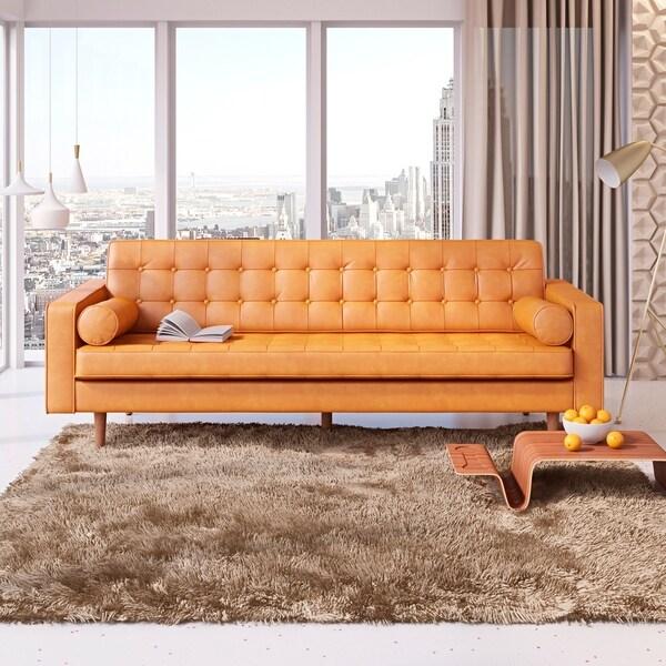 Shop AF Lifestyle Oscar Mid-Century Modern Leather Sofa - Free ...