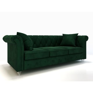 AF Lifestyle Louise Mid-Century Velvet Chesterfield Sofa (5 options available)