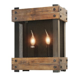 LNC Rustic Wall Sconces Wood Wall Lamp 2-light Indoor Sconces Wall Lighting