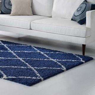 Toryn Diamond Lattice Shag Area Rug