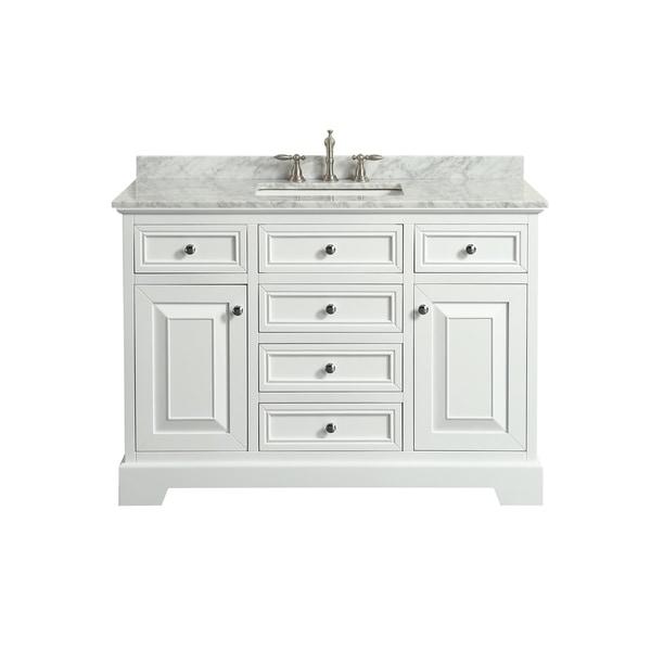 Shop Eviva Monroe 48 In White Bathroom Vanity With White Carrara
