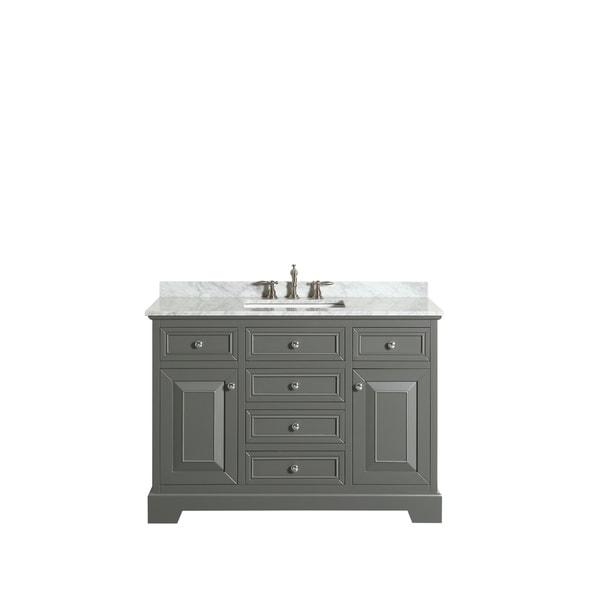 Shop Eviva Monroe 48 In Gray Bathroom Vanity With White Carrara