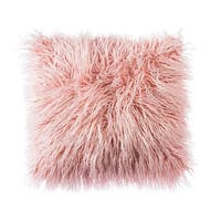 Pink Super Soft Plush Mongolian Faux Fur Throw Pillow Cover Cushion Case (18 x 18 Inch, Pink)