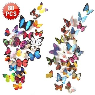 3D Butterfly Wall Decal , 80 PCS Wall Decals Sticker