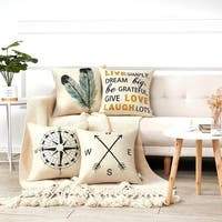 Nautical and Quote 18 Inch Decorative Throw Pillow Covers (set of 4)