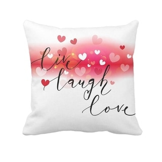 Live Laugh Love Heart Throw Pillow Case Cushion Cover Cotton Polyester 18 x 18 Inch