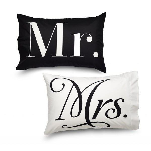 Queen Size Mr. and Mrs. Pillowcase Set White and Black
