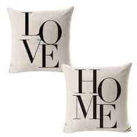 "Set of 2 Pillow Covers Love Home Linen 18""x18"""