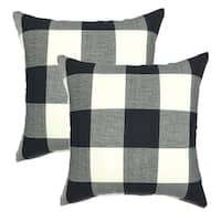 Set of 2  Retro Farmhouse Black and White Throw Pillow Case  18 x 18