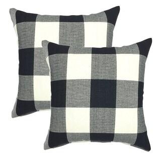 Set of 2 Retro Farmhouse Black and White Throw Pillow Case 18 x 18