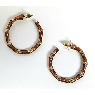 Kenneth Jay Lane Medium Enamel with Satin Gold Bamboo Hoop Pierced Earring (5 options available)