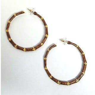 Kenneth Jay Lane Large Enamel with Satin Gold Bamboo Hoop Pierced Earring (5 options available)