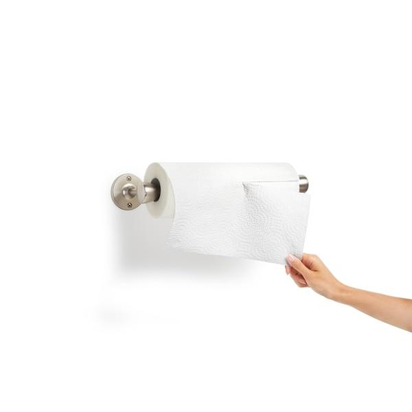 Home Basics Pine Wood Paper Towel Holder Easy Wall Mount