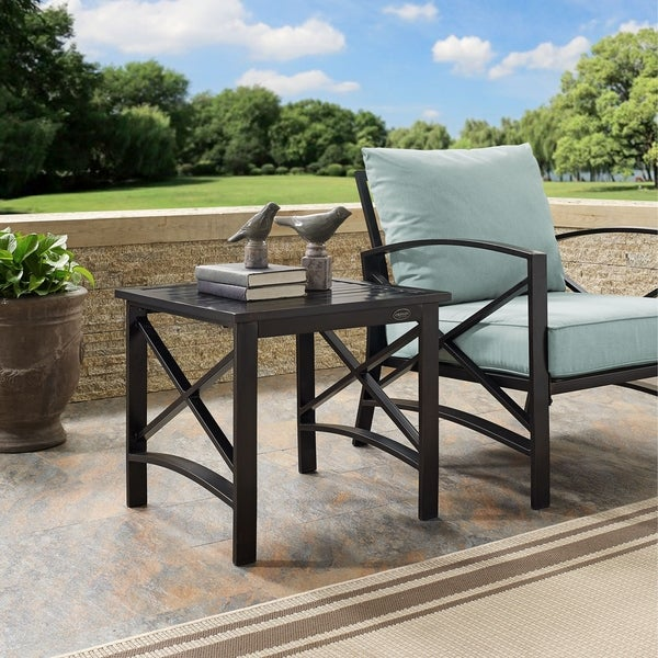 kaplan side table in oiled bronze