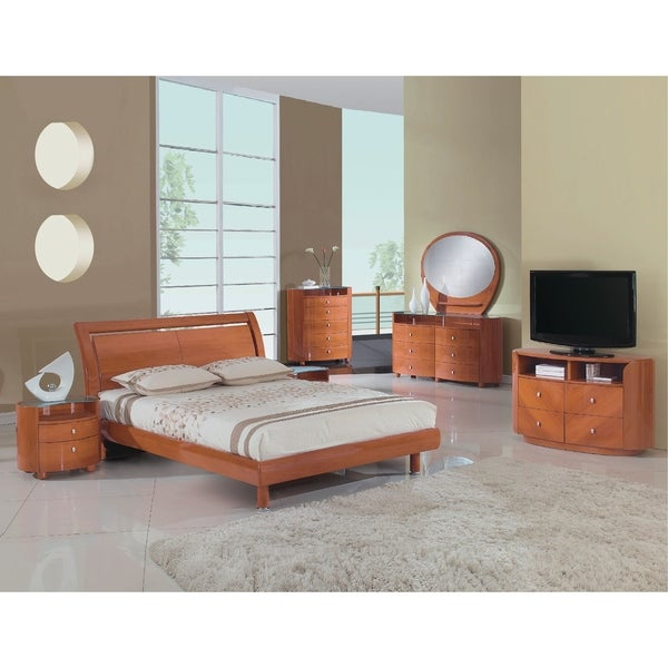 Cosmo Contemporary 4 Piece Cherry Wood Bedroom Set
